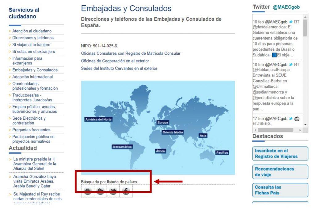 Embajadas y consulados